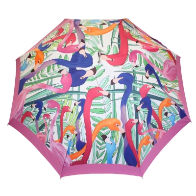 Stick umbrella double sided Flamingo
